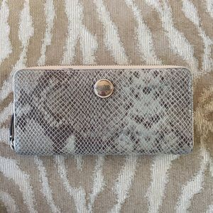 COACH Leather Reptile Zip Around Accordion Wallet